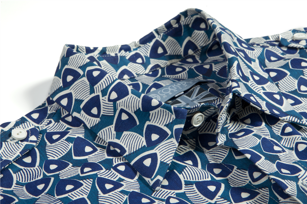 Organic Cotton Sail Print Shirt with Epaulette detail