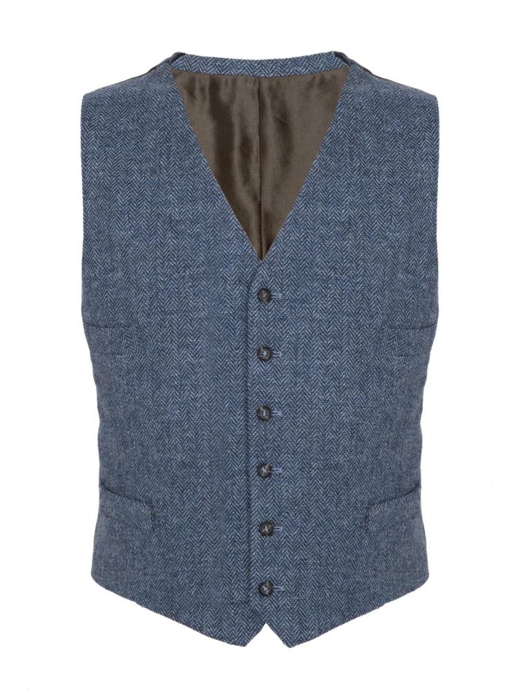 Denim Blue Herringbone Tweed Waistcoat by Cock & Bull Tweed Collection